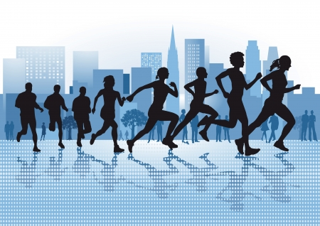 Running in the City Stock Vector - 19447093