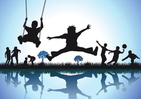 bimbi che giocano: Gioca e piacere Vettoriali