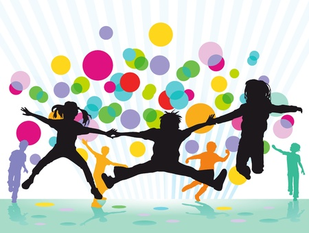 ni�os jugando en la escuela: Festival Ni�os coloridos s Vectores