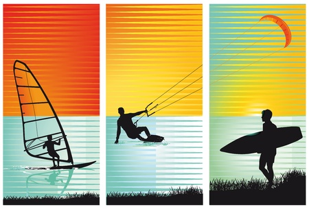 kitesurfing: surf, surfing, kiting Illustration