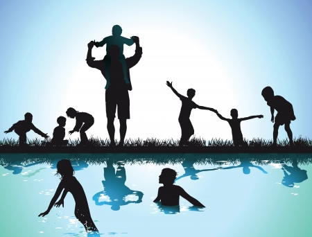 Children swim in the lake Vector