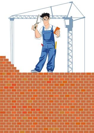 bricklayer: Bricklayer at work Illustration