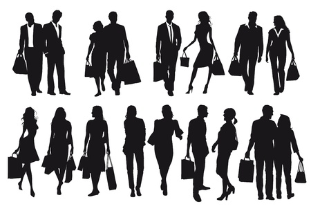 Shopping, black silhouettes and signs Vector