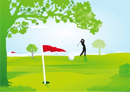Golfers on the course Vector