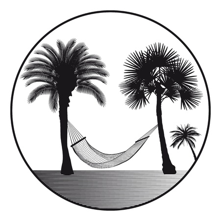 Palm with hammock characters Ilustracja