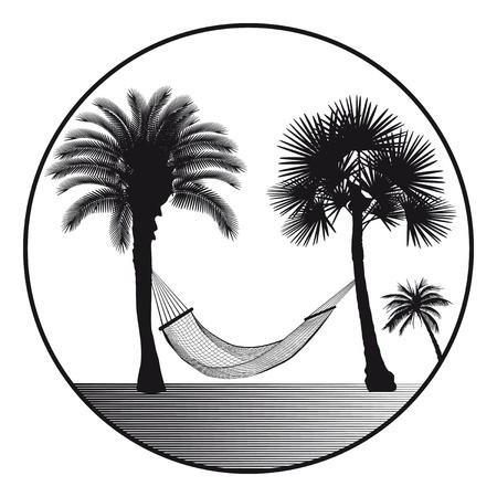 hamaca: Palma con caracteres hamaca