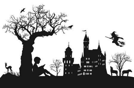 horror castle: A child reading fairy tales