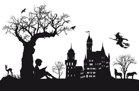 zauberhaft: Ein Kind liest M�rchen Illustration