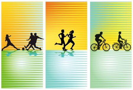 スポーツ、サッカー、サイクリング、実行  イラスト・ベクター素材