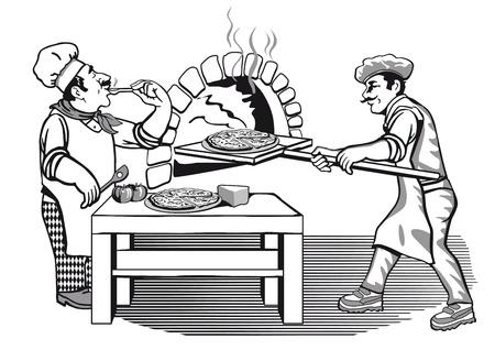 panettiere: due pizzaiolo Vettoriali