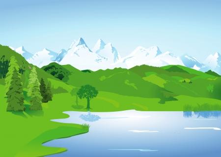 湖や高い山々 を風景します。  イラスト・ベクター素材