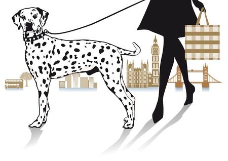 Camine con Dalmatians Ilustración de vector
