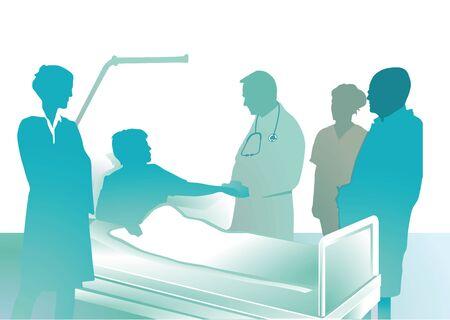 doctors and patient: m�dicos visitan Vectores
