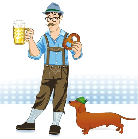 dog costume: Bayer with beer and dachshund