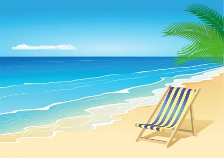 transat: Chaise longue en bord de mer Illustration