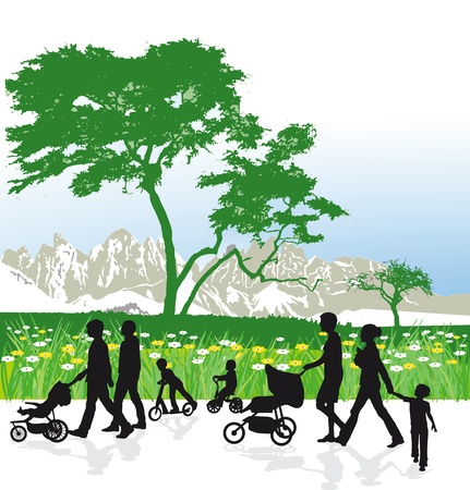 Families in mountain landscape Vector