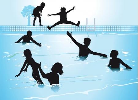 splash pool: Nadar en la piscina Vectores