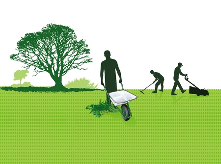 carretilla de mano: Jardinero con la carretilla de mano