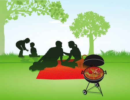 picnic park: Picnic with family Illustration