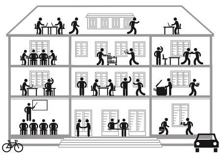 Kantoorgebouw met banen Vector Illustratie