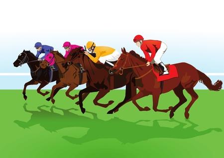 excitement: скаковых лошадей Иллюстрация