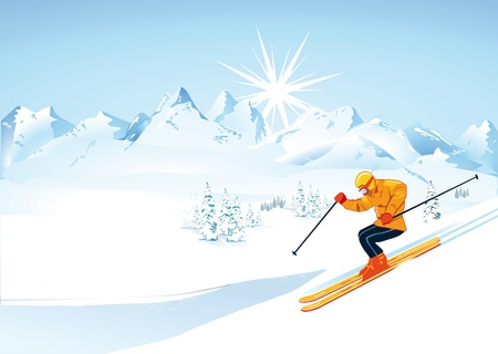 Skier in high mountains  Vector
