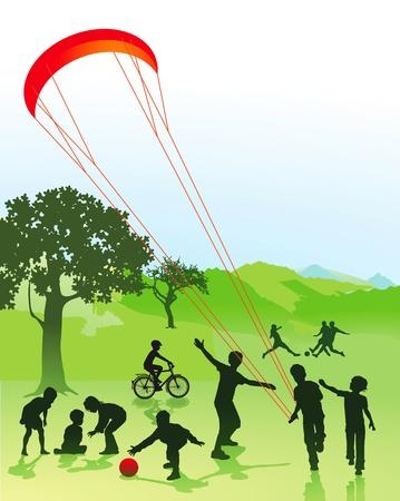 公園で子供および若者達
