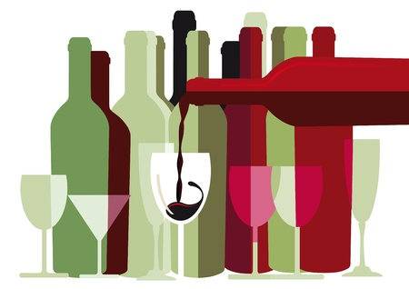 red wine pouring: White and red wine bottles and glasses  Illustration