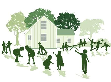 anger kid: Children playing in the garden