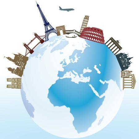 evropský: Cestování a památek Ilustrace