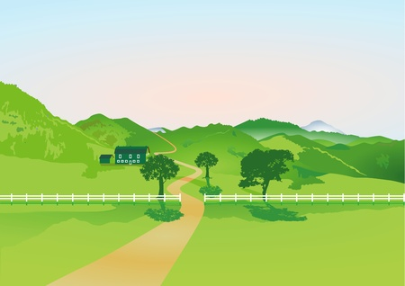 lawn area: Landscape with farm and fence Illustration