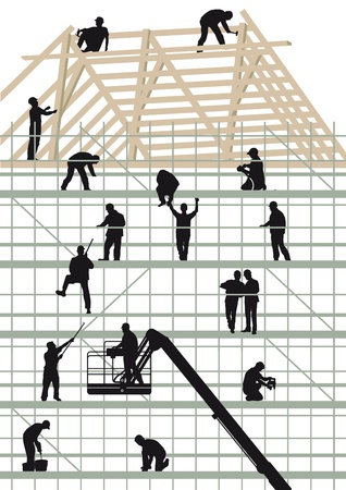 roofer: Construction workers building a hous