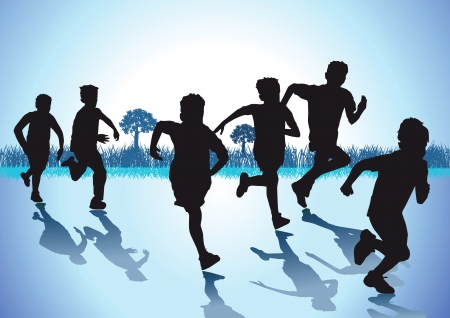 kids football: Children run Illustration