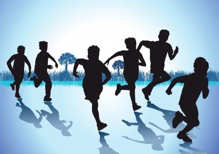 ni�o corriendo: Los ni�os corren Vectores
