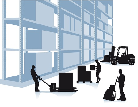 storehouse with workers and forklift Illustration