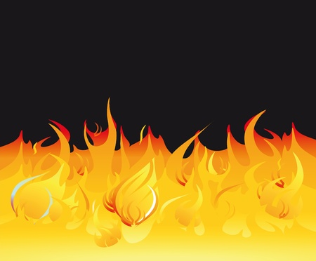 Fire flames on a dark background Illustration