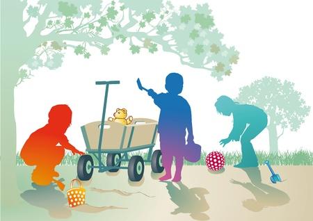 sandbox: Small children play in the sandbox