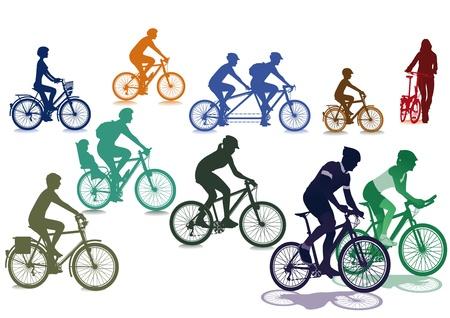 montando bicicleta: Los ciclistas y bicicletas Vectores