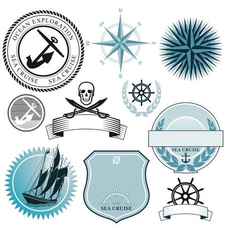 船と海のアイコン  イラスト・ベクター素材