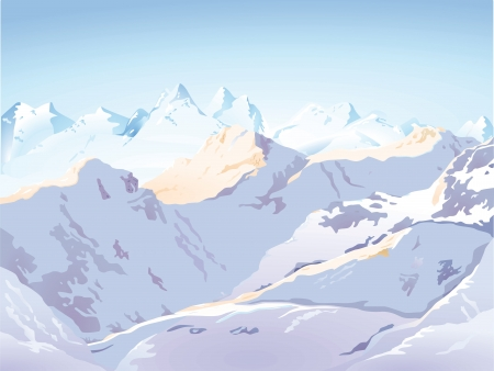 Mountains in snow Vector