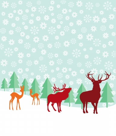 grove: Deer and fir trees in the snow Illustration