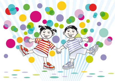 joking: two children and colorful dots