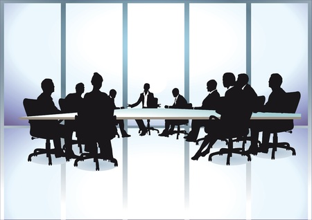 referat: Group of business people in a meeting at office  Illustration