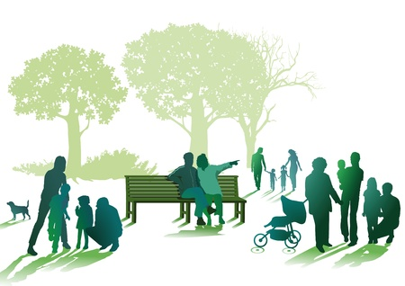 Families and seniors in the park Vector