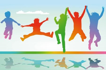 group jumping: jump and joy Illustration
