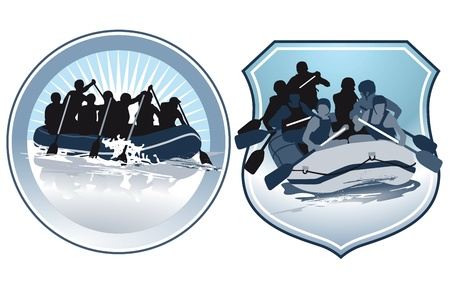 raft: rafting characters Illustration