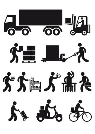 Conjunto de iconos de entrega  Ilustración de vector