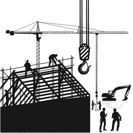 roofing: Crane and roof construction