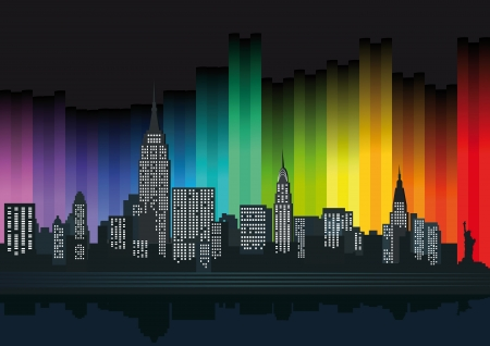 new york notte: New York con luci colorate Vettoriali
