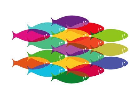 leadership: Colourful Fish Shoal Illustration